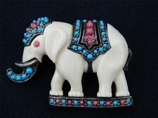 Rare Turquoise & Coral Moroccan Elephant Brooch