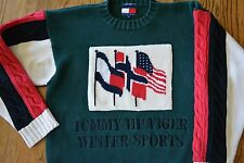 Vintage 90s Mens Tommy Hilfiger Winter Sports USA flag sweater colorblock polo