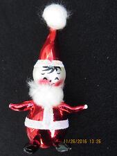 Vintage 1955 Hand Painted De Carlini Christmas Ornament Blown Glass Santa Claus