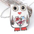 Neu HALSKETTE EULE OWL mit PERLEN / STRASSSTEINE in Weiß/Kristallklar KETTE UHU