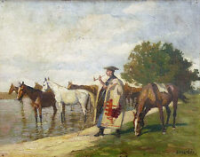 Bela JUSZKO (1877-1969) huile sur toile CHEVAUX Budapest Hongrie Hungaria HORSEn