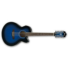 Ibanez AEL1512E 12-String Cutaway Acoustic-Electric Guitar Trans Blue Sunburst