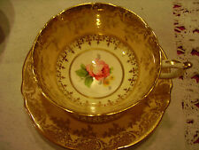 Vintage Paragon Bone China Tea Cup & Saucer Handpainted Pink Rose Gilt & Sugar