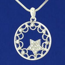 "W Swarovski Crystal Star Sun Circle Moon Pendant Necklace Jewelry Gift 18"" Chain"