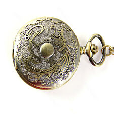 New Bronze Vintage Chinese Style Dragon Pocket Watch Mens Gift Chain