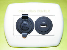 *NEW*  12V USB CHARGER OUTLET WALLPLATE  RV BOAT CAMPER 5TH WHEEL WHITE PLATE