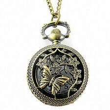 Retro Bronze Butterfly and Flower Openwork Cover Pocket Quartz Watch Ornate