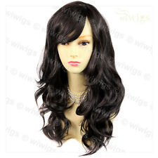 Wonderful wavy Long dark Brown Curly Heat Resistant Ladies Wigs from WIWIGS UK