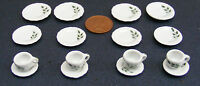 1:12 Scale 16 Piece Hand Painted Ceramic Tea Set Dolls House Miniature 27 Dining