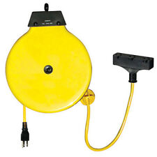 K Tool 73340 Retractable Extension Cord Reel Metal Housing 30' Yellow