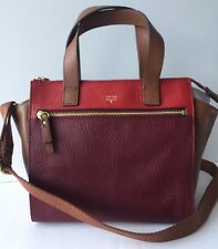 FOSSIL TESSA LEATHER SATCHEL SHB1470640 WINE MULTI-FreeShip!!