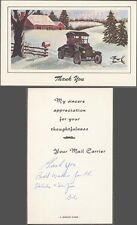 Vintage Model T Ford Car Holiday Christmas Thank You Card from US Mail 728986
