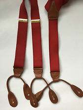 CAS Mens Brace Suspenders Red Gold Tone Clinches West Germany