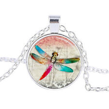 Vintage Red dragonfly Cabochon Tibetan Silver Glass Chain Pendant Necklace #B202