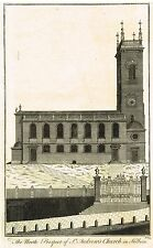 "Cole's ""THE NORTH PROSPECT OF ST. ANDREW'S CHURCH IN HOLBORN"" - Engraving -1772"