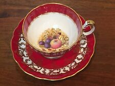 Aynsley RED Footed Cup & Saucer with Fruit #2480