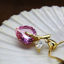 New 18K Yellow Gold Plated Pink Sapphire Gemstone Necklace Heart Pendant Jewelry