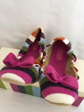 NWT Coach Rio Legacy Stripe Knit Womens Multi Color Slip On Slippers size 8.5