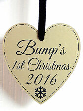 Bump's First Christmas Heart Plaque - Gold - Mum To Be 1st Xmas Tree Decoration