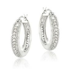 0.50ct. TDW Diamond 20mm Hoop Earrings in Brass