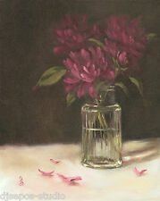 "Daily Painting a Day Sepos ""Crystal for Peonies"" blossoms & peony bud still life"
