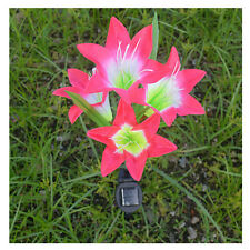 Waterproof Solar Powered Red Lily Flower 4LED Light  Garden Lawn Lamp Yard Decor