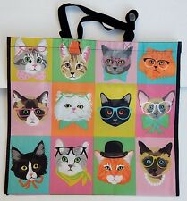 REUSABLE SHOPPING TRAVEL TOTE BAG CATS ECO FRIENDLY TJ MAXX NEW