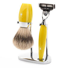 Muhle KOSMO Yellow Gillette Mach3 and Silvertip Badger Hair Shaving Brush Set