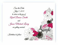 100 Personalized Custom Hot Pink Floral Flowers Wedding Save The Date Cards