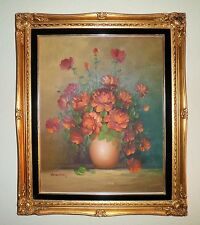 ELEGANT STILL LIFE FLORAL DESIGN OIL PAINTING ON CANVAS BEAUTIFUL ORNATE FRAME