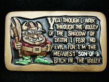 PA03105 VINTAGE 1981 **I'M THE MEANEST S.O.B. IN THE VALLEY** FANTASY ART BUCKLE