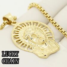 """STAINLESS STEEL GOLD JESUS FACE HEAD PENDANT 24""""ROUND BOX CHAIN NECKLACE 36g IP7"""
