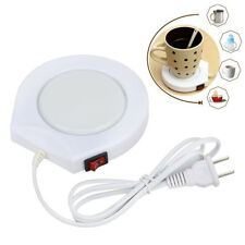 White 220v  Electric Powered Cup Warmer Heater Pad Tea Coffee Mug Milk US Plug