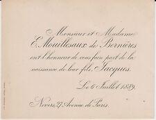 § FAIRE-PART NAISSANCE JACQUES MOUILLESAUX de BERNIÈRES - NEVERS (Nièvre) 1889 §