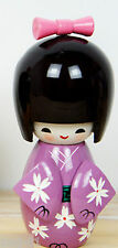 Handmade Cute Japanese Creative Kokeshi Wooden Doll Girl 9cm - Purple