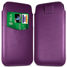 PREMIUM CARD SLOT PU LEATHER PULL FLIP TAB CASE COVER POUCH FOR HTC PHONES