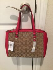 NWT AUTH COACH 36905 STATION CHRISTIE CARRYALL SIGNATURE KHAKI RED BAG $275