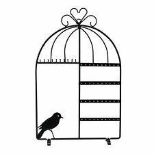Black Metal Bird Cage Design Jewelry Earring Necklace Display Holder Stand
