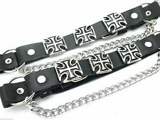 Chopper Cross Leather Biker Western Boot Straps W Chain Buckle Women's Men PAIR