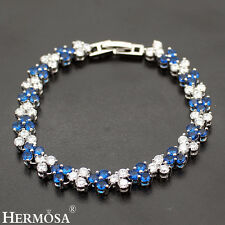 """Xmas Gifts White CZ Genuine Blue Sapphire AAA Sterling 925 Silver Bracelet 7"""""""