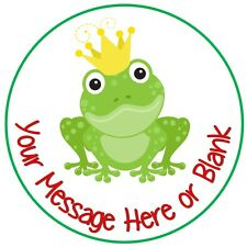 Personalised round cake topper icing Frog and crown prince cute princess