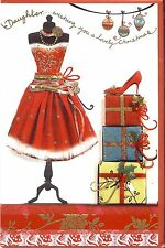 PRETTY & GIRLY DAUGHTER CHRISTMAS CARD (SHOES, DRESS, PRESENTS)