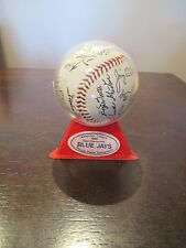 1985 TORONTO BLUE JAYS REPLICA TEAM AUTOGRAPHED BASEBALL WITH DISPLAY STAND MLB