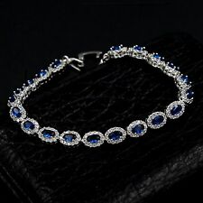 6.75 In White Gold GP Oval Cut Sapphire Cubic Zirconia CZ Tennis Bracelet 08293