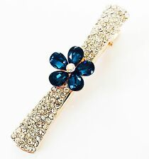 QUALITY Hair Clip Claw using Swarovski Crystal Hairpin Flower Gold Blue