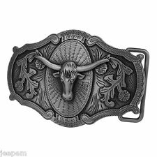 Texas Longhorn Design Pattern Western Line Dancing Gear Gunmetal Belt Buckle NEW