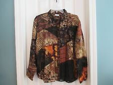 CHICO'S Women's sz 3 Multi-Color Long Sleeve Button Up Blouse silk/rayon/linen
