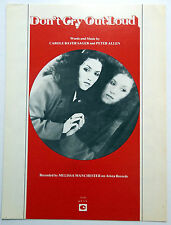MELISSA MANCHESTER Sheet Music DON'T CRY OUT LOUD Chappell Publ. 70's POP Vocal