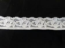 "3 / 10/ 50   yards white  black Strech floral scalloped lace trim 3/4"" s4-2"