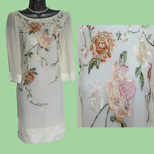 *MONSOON*Ivory HARDY Silk Embroidered Short Sleeve Wedding Dress sz8 EU36 £160